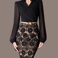 Christmas Gift Sexy Lace Patchwork Wear To Work Lantern Long-Sleeved V-Neck Pencil Elegant Slim Party Dress Bottoming Skirt Petticoat