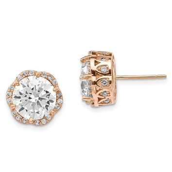 10K Rose Gold Tiara Collection Rose Gold Polished CZ Post Earrings