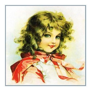 Victorian Young Girl Red Cape by Maud Humphrey Bogart Counted Cross Stitch or Counted Needlepoint Pattern