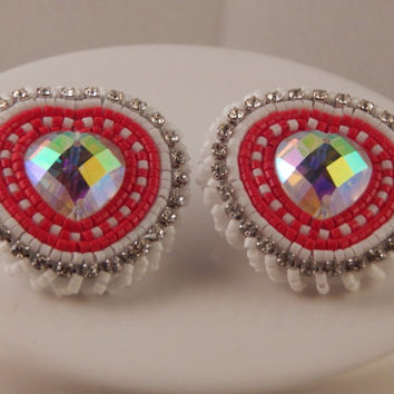 Pow Wow beadwork - Valentine's Day gift, beaded regalia earrings with size 11 delica seed beads and crystal heart, Native American jewelry