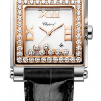 Chopard - Happy Sport Automatic - Square Medium - Stainless Steel and Rose Gold with Diamonds