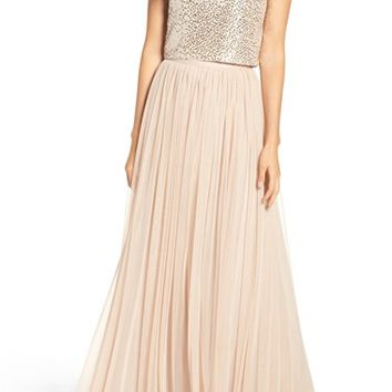 Adrianna Papell Sequin Two Piece Gown | Nordstrom