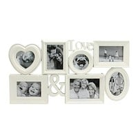 """26.5"""" White Multi-Sized """"Love &"""" Photo Picture Frame Collage"""