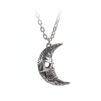 Alchemy Gothic Crescens Tragicom Cescent Moon Pendant Necklace
