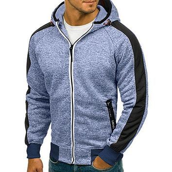 Men's Striped Sleeve Zip-Up Hoodie