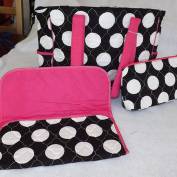 3 Piece Monogrammable Quilted Diaper Bag Tote/Purse/ Carry on, Polka Dots, Black/Hot Pink/White, Personalized Free