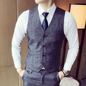 Mens Suit Vest Men Colete Male British Wedding Slim Fit Men Dress Blazer Vests