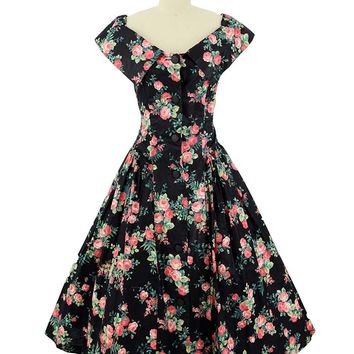 1980s Black Rose Print Garden Party Dress