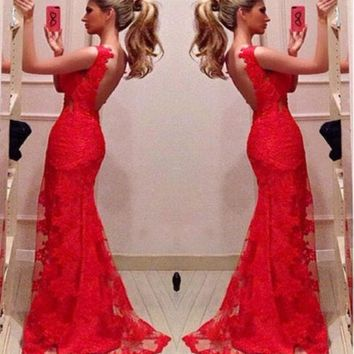CREYUG3 Red Bodycon Mermaid Evening Bridal Party Gowns Long Prom Dresses Custom = 1932476484