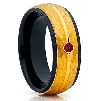 Ruby Tungsten Ring - Tungsten Wedding Band - Men's Wedding Ring - 8mm