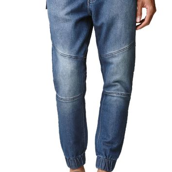Bullhead Denim Co Dillon Skinny Sweat Jean Moto Jogger Pants - Mens Jeans - Blue