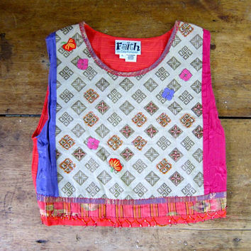 Vintage Beaded Tank Top Tribal Print Crop Top Colorful Pink Purple Orange Bali Top Cropped Boho Tank Ethnic Floral Tee Dells Womens Small