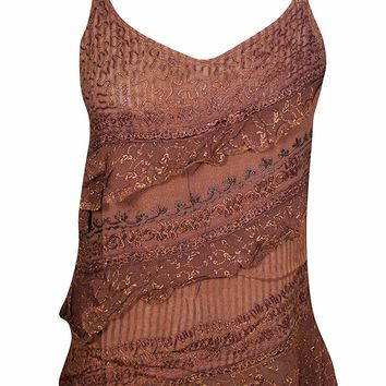 Mogul Interior Womens Boho Tank Tops Embroidered Spaghetti Strap Trendy Blouse Shirt S/M