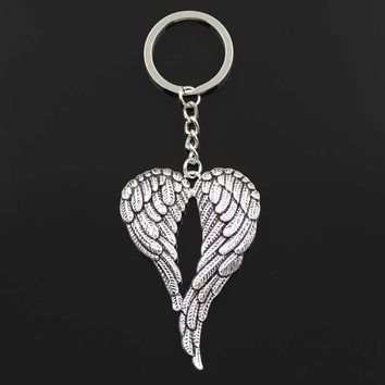Keychain 67*42mm angel wings Pendants DIY Men Jewelry Car Key Chain Ring Holder Souvenir For Gift