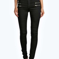 Evie Low Rise Multi Zip Super Skinny Jeans