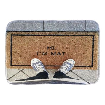 Funny Doormats With Phtoto Of Hi I'M Mat Decor Doormat Front Door Mat Cute Rubber Door Mats Short Plush Bathroom Rug Floor Mats