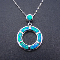 Women Jewlery Pendants Fine 100% 925 Sterling Silver Necklaces Blue Fire Opal Round Pendant Necklace with Chain