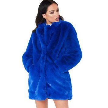 Winter Women Long Faux Fur Coat Loose Tops Thick Plush Outerwear Turn Down Collar Female Hairy Furry Warm Overcoat Plus Size
