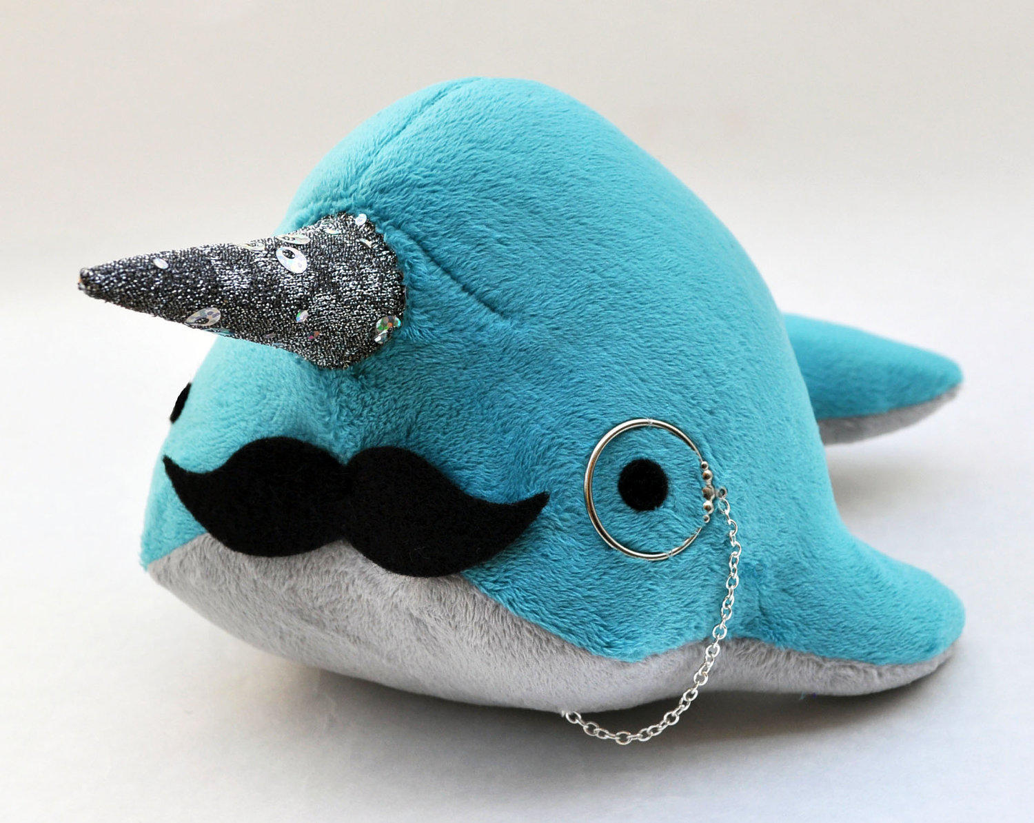 Narwhal Plush With Mustache And Monocle From Ostrichfarm