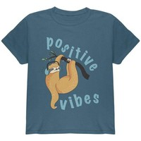 VONEG5F Sloth Positive Good Vibes Youth T Shirt