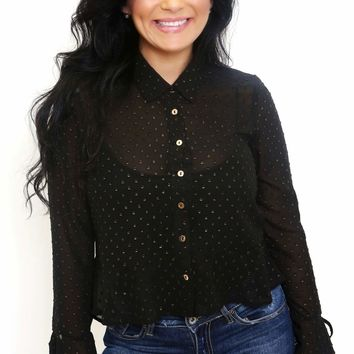 Lurex Polka Dot Sheer Blouse