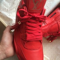 "Indie Designs Custom Made Air Jordan 4 ""Red Louis Vuitton Don"""
