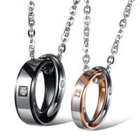 Titanium steel couple necklace(s/GOLD for women, L/black for Men) = 5987788737
