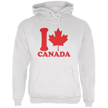 I Love Maple Leaf Heart Canada Mens Hoodie