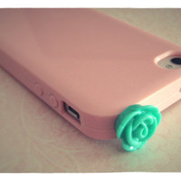 Beautiful Baby Pink iPhone 4/4S case with Mint Green Rose Plug