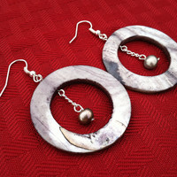 Silver Shell and Freshwater Pearl Chain Dangle Earrings