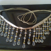 Handmade princess style ecological necklace with satin ribbon, twine and beads drops.