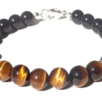 Mens STEADFAST & DETERMINED Solar Chakra Bracelet w/ Yellow Tiger Eye