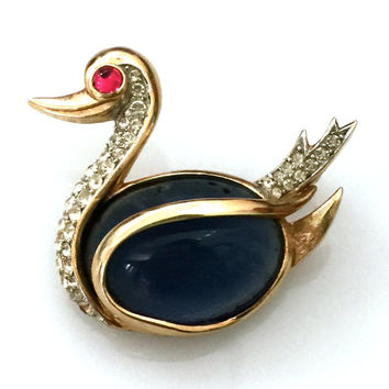 Trifari Duck Brooch, Trifari Figural Brooch, Big Blue Belly, Gold Tone Metal, Red and Clear Rhinestones