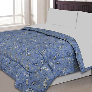 Full / Queen Size Microfiber Comforter with Navy Blue Tan Gold Paisley Print
