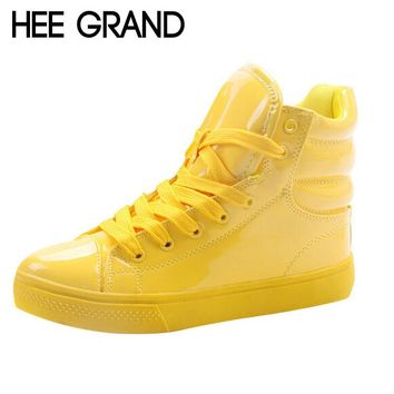 HEE GRAND New Arrival Lighted Candy Color High-top Shoes Men Fashion Unisex Shoes Flat Platform Shoes Couple Shoes XWB001