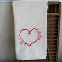 Natural Cotton Valentine's Day, Natural Cotton Valentine, Valentines Day Towel, Valentines Day Finger towel, Classic Valentine