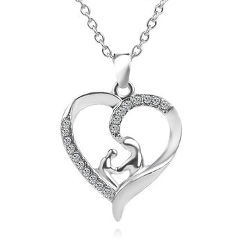 Heart-Shaped Silver Mother and Child crystal Mom Necklace