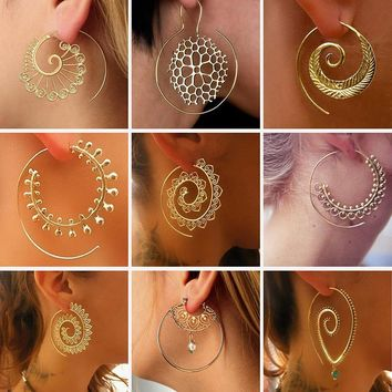 Swirl Hoop Ethnic Earrings