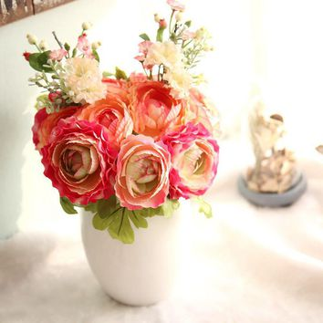 quality silk artificial flowers bouquet decor for decoration wedding decoration table flowers arrangements flores artificiales