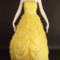 1950s Yellow Chiffon Formal, Bust-32