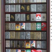 56 Military/Sports Zippo Lighter Display Case Rack Holder Cabinet - Mahogany Finish (LC04-MA)