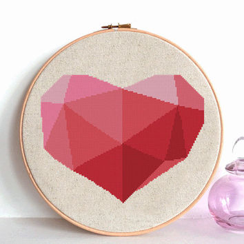 Love Heart cross stitch, Love cross stitch, Heart cross stitch pattern, Valentine cross stitch, Triangular heart shape, Modern cross stitch