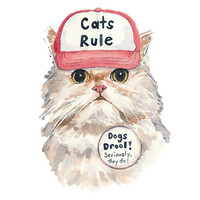 Cat Watercolor 8x10 PRINT - Persian Cat, Cat in a Hat, Funny Painting, Grumpy Cat Kitty