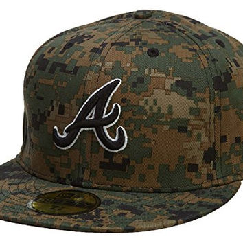 New Era Atlanta Braves Fitted Hat Mens Style: HAT529-GREEN/BLACK Size: 7 3/4