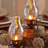 Set of 2 Hurricane Table Lanterns Rustic Lamps Accent Lighting Home Decor