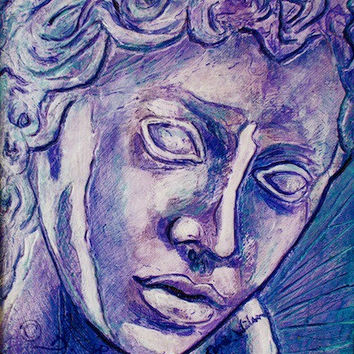 Weeping Angel Statue Painting, Signed Art Print