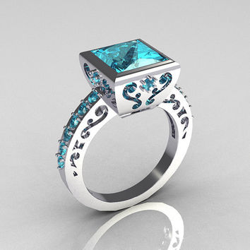 Classic Bridal 14K White Gold 2.5 Carat Square Princess Aquamarine Ring R309-14WGAQ