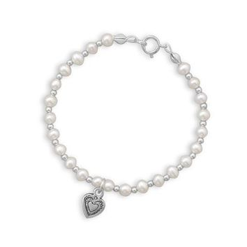 """6"""" Cultured Freshwater Pearl and Silver Bead Bracelet with Oxidized Heart"""