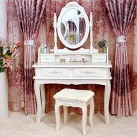 White Elegant Vanity Table And Mirror With Stool Has Drawers For Make-Up And Jewelry