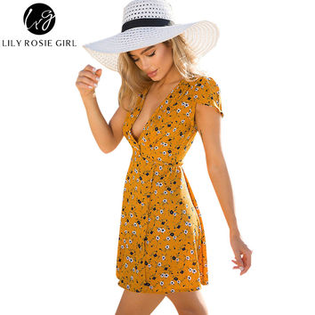 Lily Rosie Girl Women Deep V-neck Boho Style Summer Party Mini Dress Floral Casual Beach Dresses